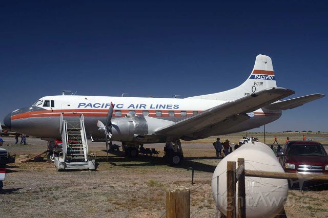 MARTIN 404 (N636X) - Martin 404 N636X was operated by Airliners of America in the colors of Pacific Air Lines. It was delivered to TWA on July 16, 1952, registered as N40429. Its name was Skyliner Peoria. In 1959 it was sold to California Airmotive Corporation. Subsequently it was owned by E. F. McDonald, James McAlister, Montex Drilling Corporation, Airworld Incorporated, Whitesell Construction Corporation, Joe Simpkins Oil, Tiffany Industries Isd., Phase II Incorporated, Sun & Wind Incorporated, and Skylease Incorporated of Wilmington, Delaware. It has been registered to the Planes of Fame Museum since September 25, 2008. It is powered by a pair of Pratt & Whitney R-2800 eighteen-cylinder Double Wasp radial engines.