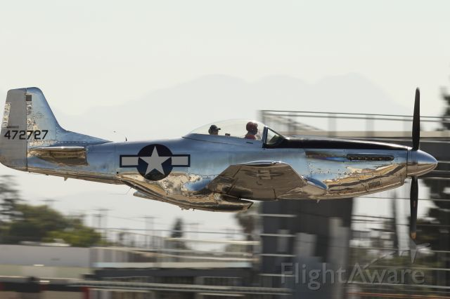 North American P-51 Mustang (N514DK) - A fast departure from KVNY one fine sunday.