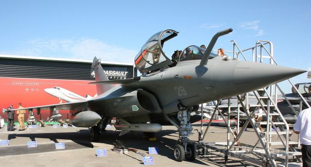 — — - Dassault Rafale M from French Navy presented in static exhibition at Paris Le Bourget Air Show in June 2011.
