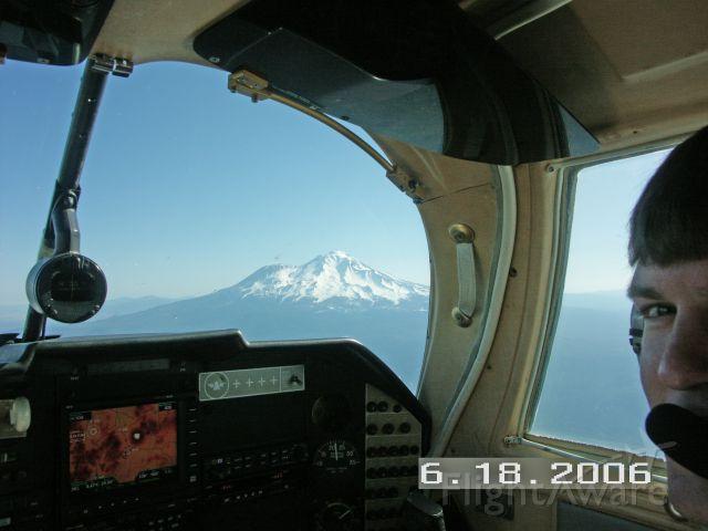 Mooney M-20 (N1156N) - Passing Mt. Shasta enroute MYV to Medford.  Note terrain display on MX20.
