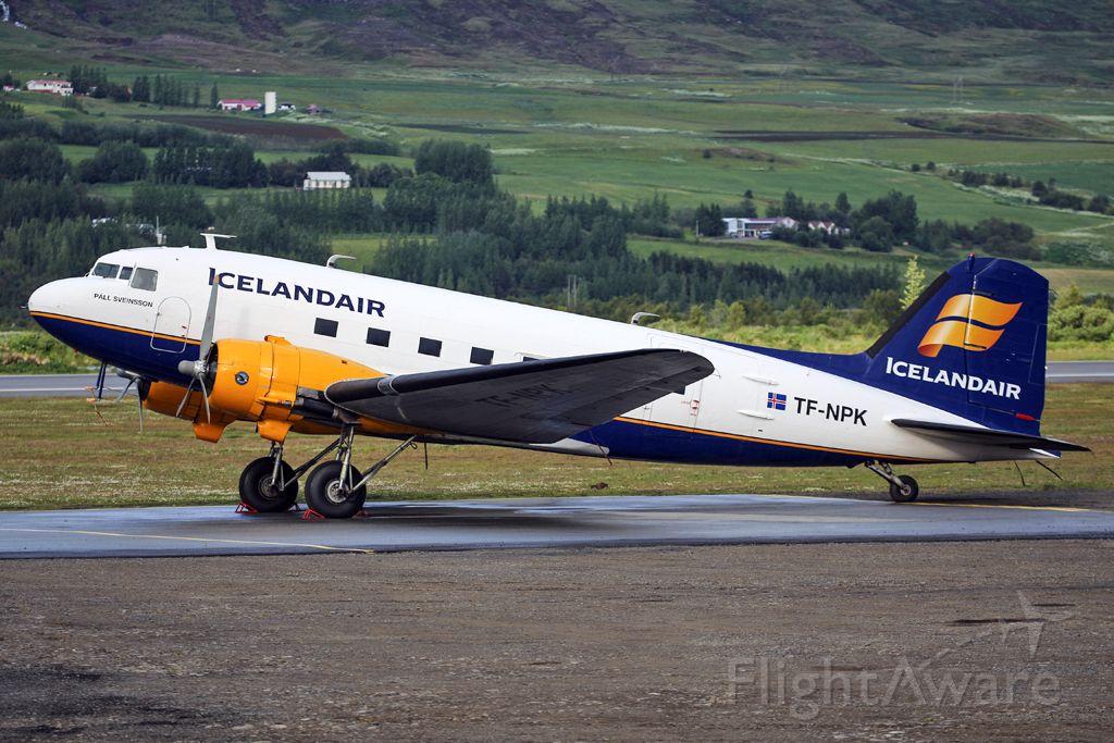 Douglas DC-3 (TF-NPK) - The Icelandair historical flight DC-3 parked outside the hangars at Akureyri