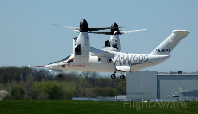 Bell BA-609 (N609PA) - Shortly after departure from the Leonardo Helo facility is this 2016 AgustaWestland Tiltrotor Rotorcraft AW609 from the Spring of 2021.