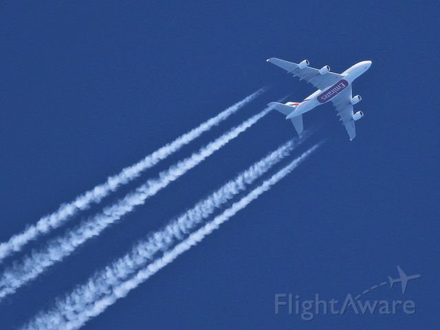 Airbus A380-800 (A6-EDD) - United Arab Emirates flight UAE202 (KJFK to OMDB) eastbound at 535knots/37/000ft over north Anglesey on 19/5/11 (data from planefinder.net)
