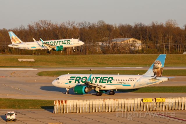 N336FR — - Frontier A320 holding short of 18L while another Frontier A320 lands on 18L