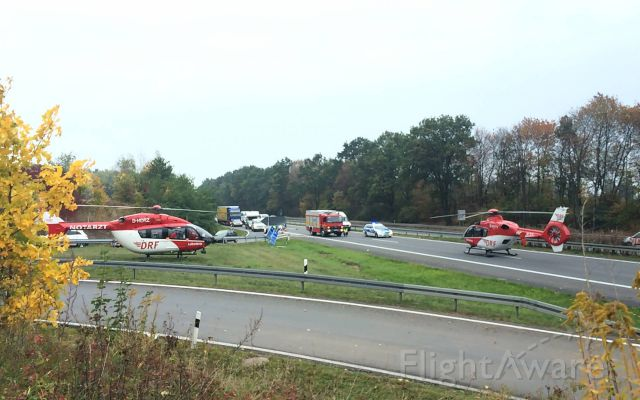 Eurocopter EC-635 (D-HYYY) - 1X EC-H135, 1x EC-H145 rescue helicopter  Accident highway near D-Berlin (DRF)