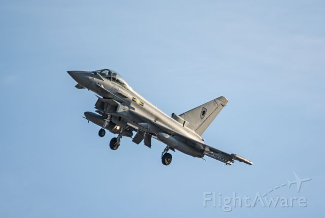 — — - RAF EF-2000 Typhoon returning from a Red Flag mission.