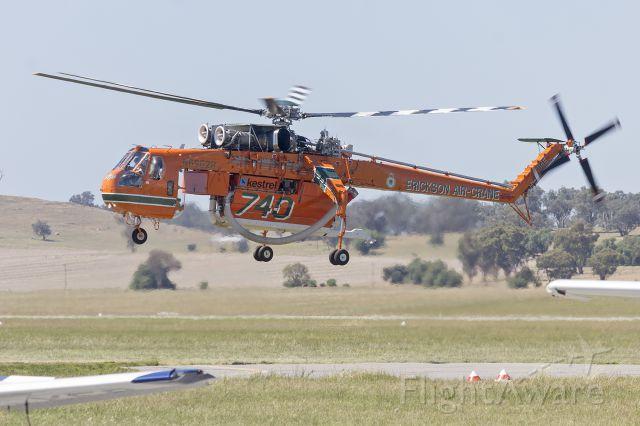 "Sikorsky CH-54 Tarhe (N6962R) - Erickson Air-Crane ""Olga"" (N6962R) Sikorsky S-64E departing Wagga Wagga Airport."
