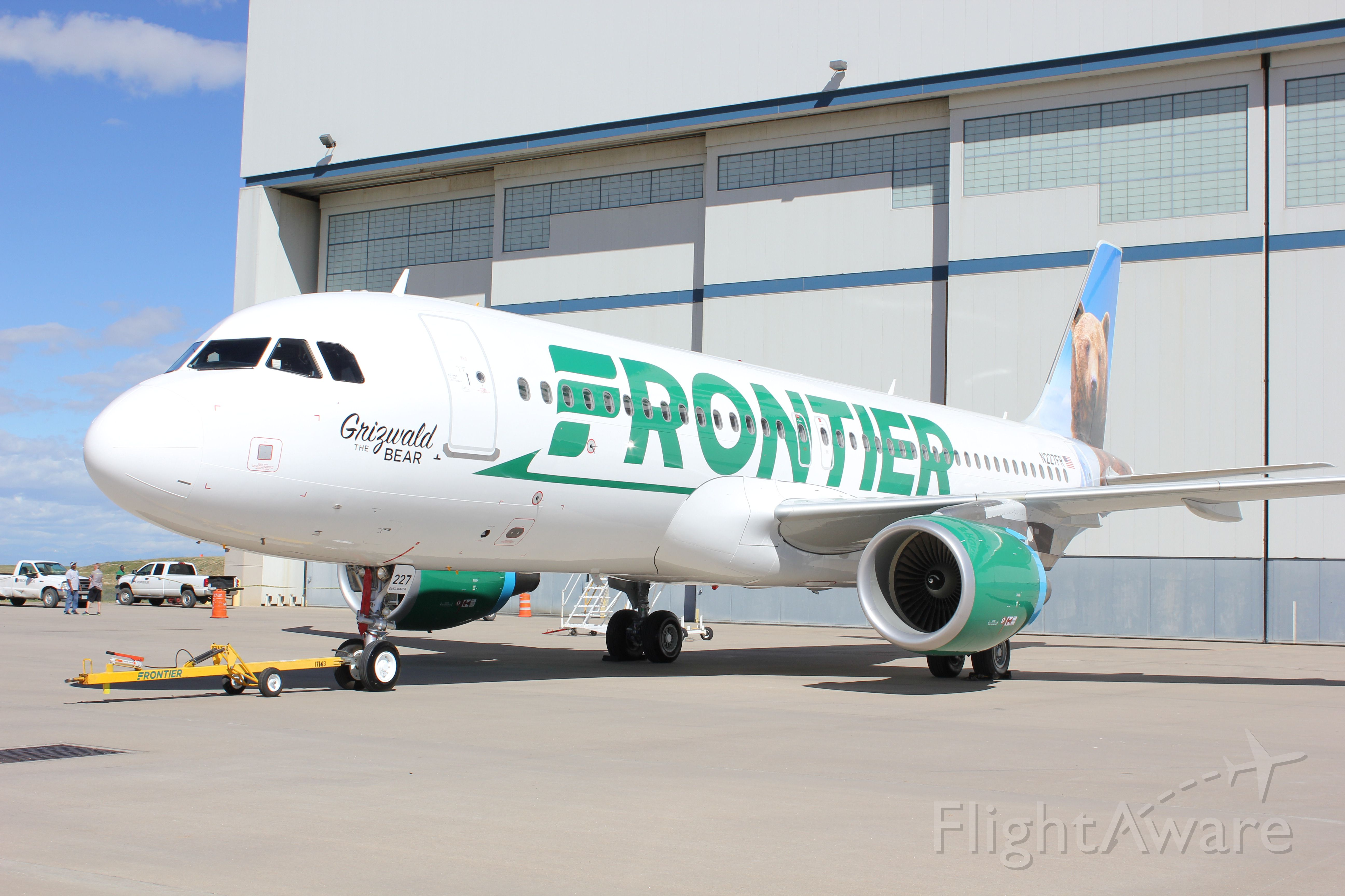 Airbus A320 (N227FR) - N227FR in Denver within minutes of it being unveiled to the media in Frontier