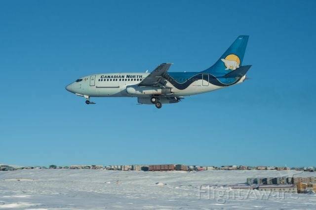 Boeing 737-200 (C-GDPA) - It was a very beautiful cool day in Iqaluit, Nunavut when the Empress arrived. -20°C