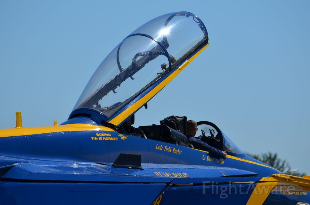 McDonnell Douglas FA-18 Hornet — - EAA 2011 Blue Angels F-18 keeping the cockpit seat warm.