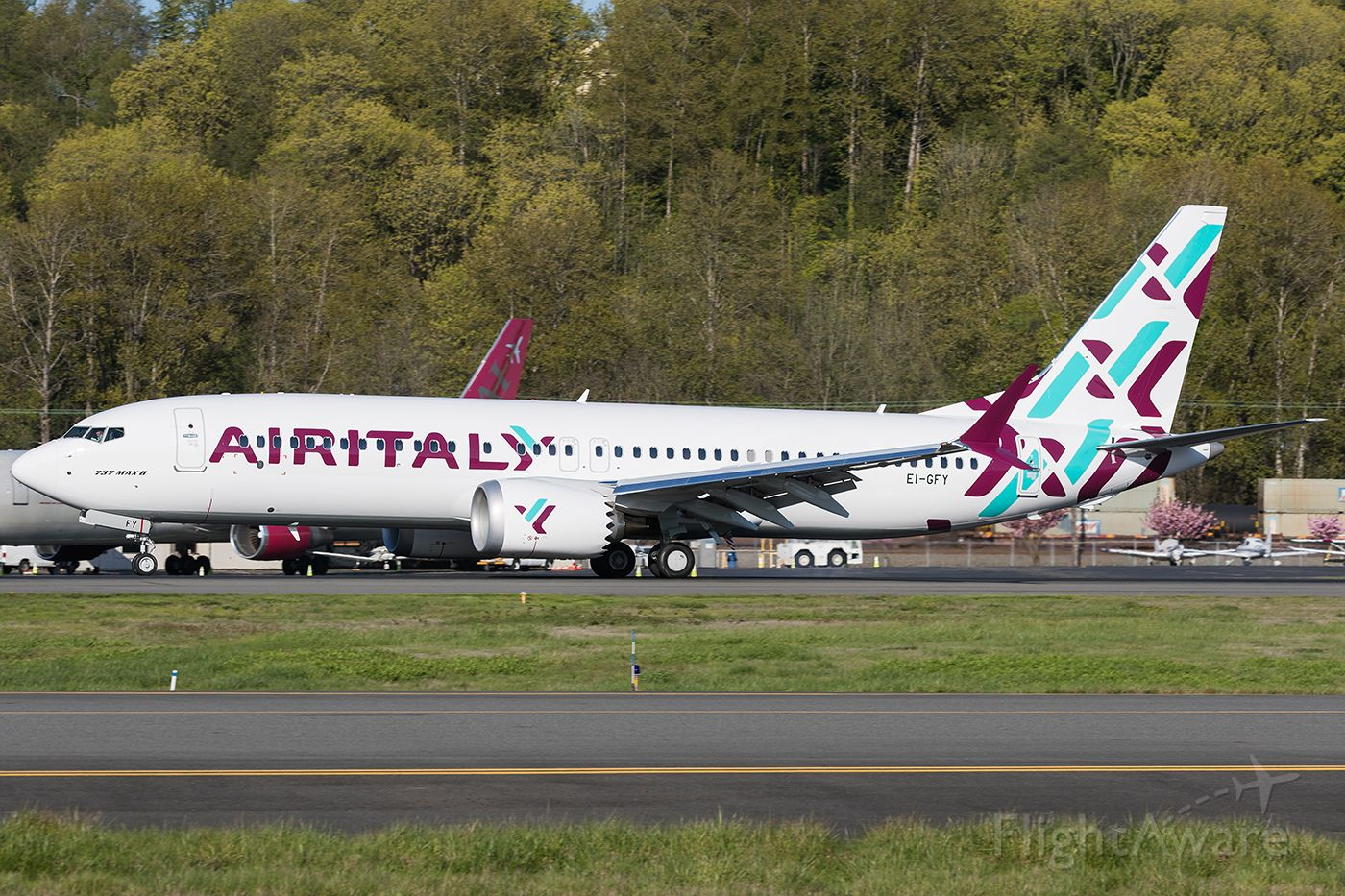 Boeing 737 MAX 8 (EI-GFY) - The first 737 Max 8 for Air Italy returns from paint in Portland.