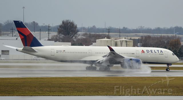 Airbus A350-900 (N503DN) - DAL9978 on landing roll at CMH on 12/5 for another crew training flight