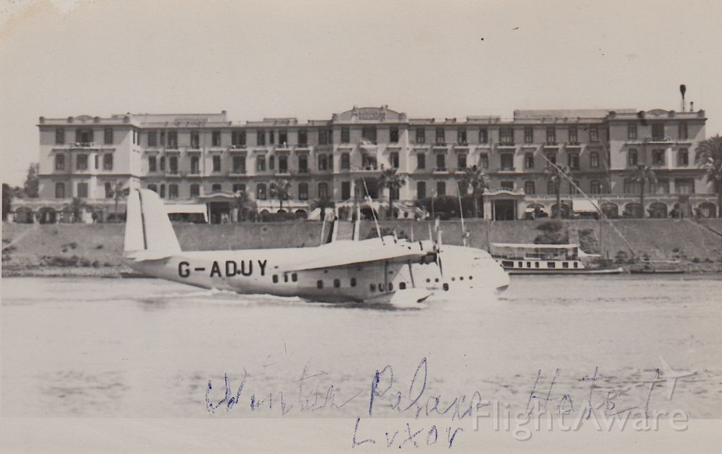 G-ADUY — - G-ADUY Capella an Empire C Class flying boat seen in front of The Sofitel Winter Palace in Luxor, Egypt. Capella was built in 1935 and served as a passenger and mail plane. Four years later, on March 12th, 1939, she crashed into an uncharted obstacle, in the harbour of Tandjong Priok, Batavia Java (Netherlands East Indies) (Jakarta, Indonesia), under the command of Captain Hussey. Imperial Airways had her dismantled and shipped to England, but water damage precluded repair and she was written off. Please look for more photos at OPShots.net.