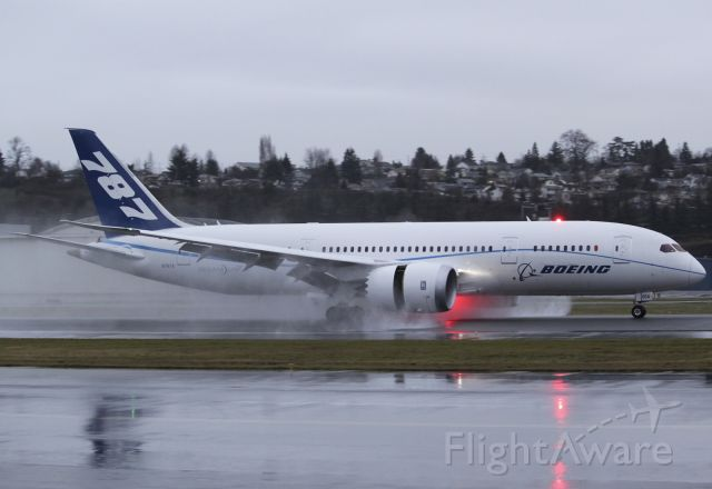 Boeing 787-8 (BOE4) - BOE004 Heavy seen rolling out at BFI after a successful test flilght.
