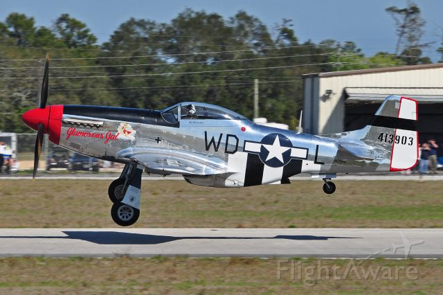 """NL751RB — - P-51D cn122-40993 """"Glamorous Gal"""" 413903 WD-L taking off at TICO 2011 by mackol87@aol.com"""