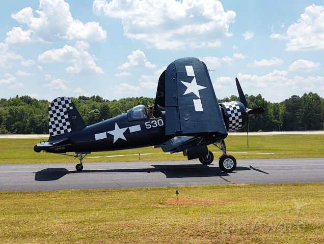 N9964Z — - Vought F4U Corsair taxiing back to the hanger after a demonstration at the Atlanta Airshow.