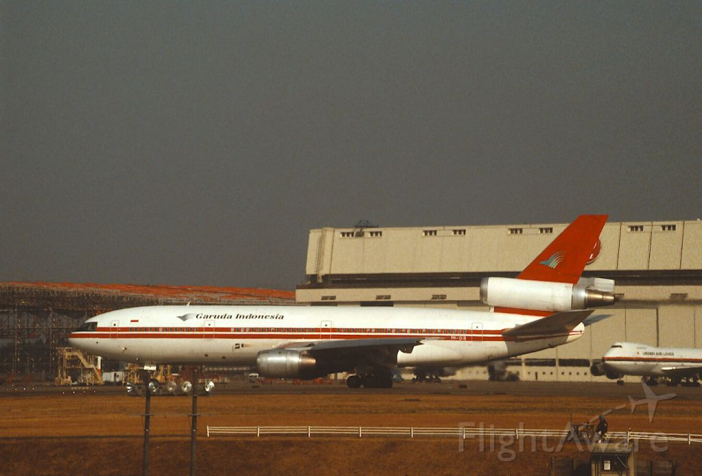 McDonnell Douglas DC-10 (PK-GIB) - Departure at Narita Intl Airport Rwy34 on 1988/01/02