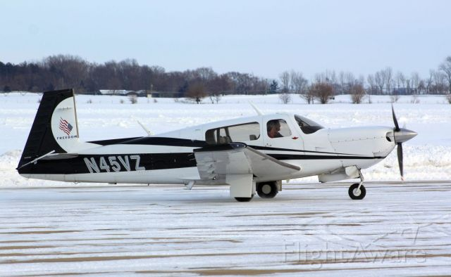 Mooney M-20 (N45VZ) - 17 February 2021<br />This very sharp looking Mooney M20M made a brief stop thru.<br />Gary C. Orlando Photo.