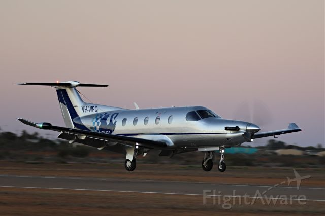 Pilatus PC-12 (VH-WPQ) - Landing on RWY 18 in the last light in the day