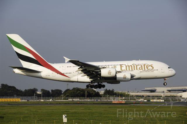 Airbus A380-800 (A6-EDD) - Final Approach to Narita Intl Airport R/W16R on 2012/07/28