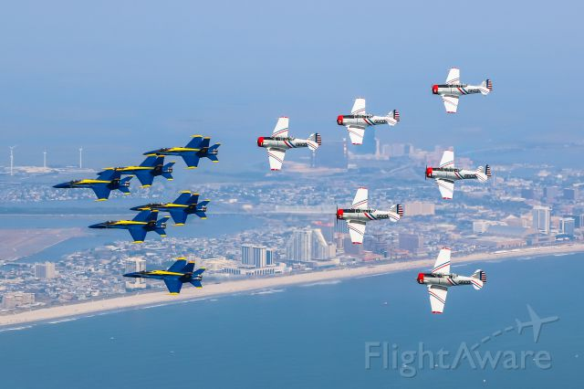 — — - GEICO Skytypers delta (T-6s) gets the honor of flying with the full Blue Angels delta at Atlantic City - very rare event!