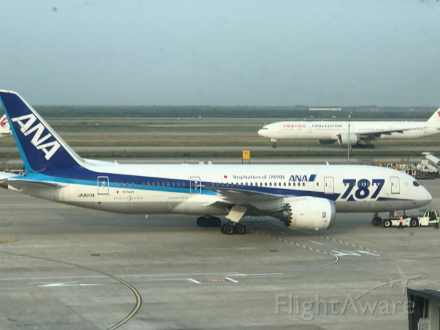 Boeing 787-8 (JA823A) - Getting ready to taxi to the runway with a China Eastern 777-300ER in the background. Spotted 6/12/18 Beijing time.