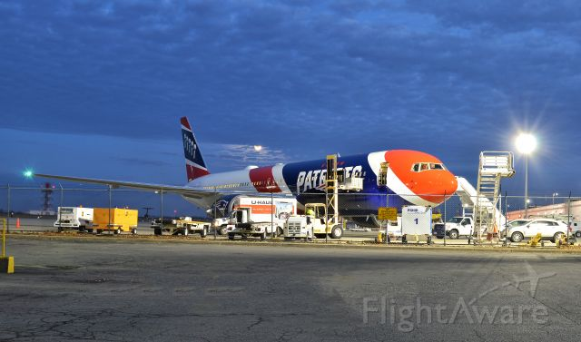 BOEING 767-300 (N36NE) - New England Patriots very own Boeing 767 parked at Buffalo Niagara Int