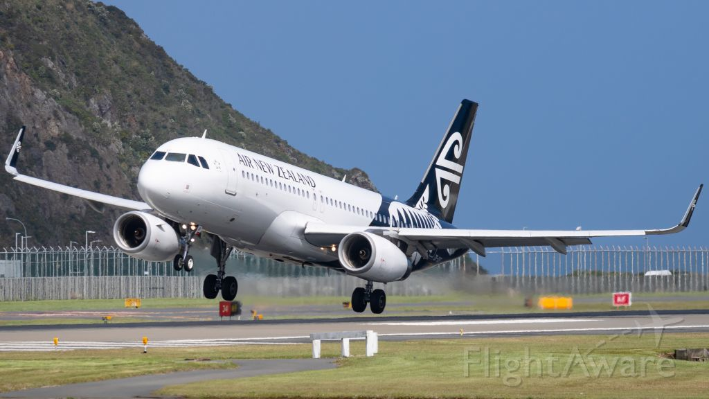 Airbus A320 (ZK-OXF) - ZK-OXF revving its engines while performing a go-around at windy Wellington.