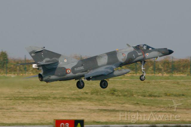 FNY1 — - French Naval Aviation Dassault Super Etendard M (SEM), Landing Rwy 08, Landivisiau Naval Air Base (LFRJ)