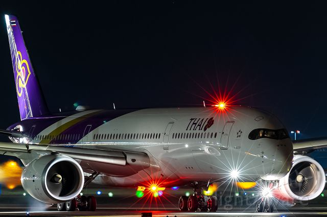 Airbus A350-900 (HS-THF) - red lights on