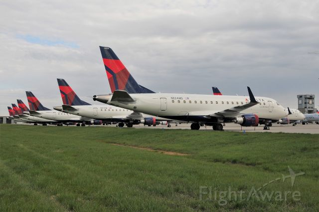 Embraer 170/175 (N824MD) - Part of the parked Covid-19 fleet at IND