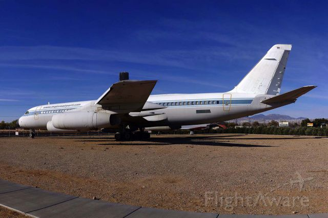 N810NA — -  Convair 990 N810NA NASA Landing Systems Research Aircraft is displayed adjacent to the main entrance to the Mojave Airport on November 16, 2014. It was used at the NASA Ames Research Center until 1983 when it was withdrawn from use. It was stored at Marana, Arizona until it was refurbished in 1989 for use at the Dryden FRC. After serving as the Landing Systems Research Aircraft in 1993 and 1994, it was retired to the Mojave Airport.
