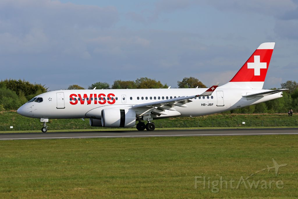 Bombardier CS100 (HB-JBF) - SWR390 slowing after arriving on 05L