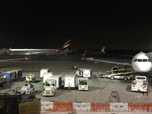 Boeing 777-200 (A6E) - Busy FLL night ops EK 213 to DXB, DY long Haul, some NK tails in the far back, B6 to LAS upfront at gate F6, (Not seen was delayed B6 1197 PVD-FLL waiting for LAS to push)