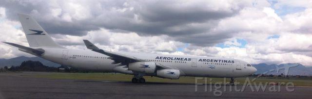 Airbus A340-300 (LV-CEK) - A-340 holding short 13R