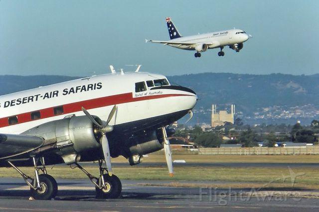 VH-PWN — - DICK LANGS DESERT AIR SAFARIS - DOUGLAS C-47B SKYTRAIN (DC-3) - REG : VH-PWN (CN 14556/26001) - WEST BEACH ADELAIDE SA. AUSTRALIA - YPAD (7/3/1993)