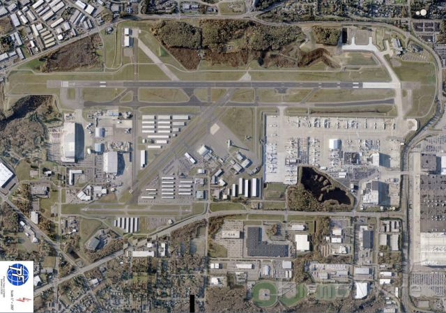 """PAE — - Here is a fabulous 12-2009 aerial PHOTO provided to me by Paine Field Airport Director Dave Waggoner.  In fact, you could have obtained a FREE 11"""" x 17"""" copy of this photo had you attended one of the Mukilteo Chamber of Commerces annual gatherings at the Future of Flight center -- in 2010.  This photo is huge.         SOURCE:  Paine Field"""
