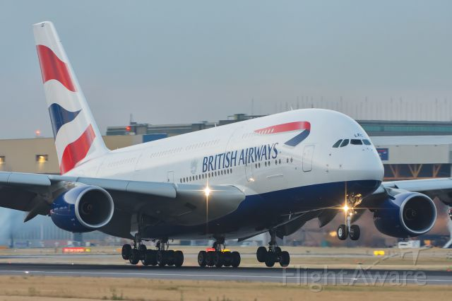 Airbus A380-800 (G-XLEC) - Morning bird at 5AM LHR.