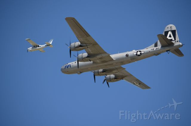 Boeing B-29 Superfortress (NX529B) - EAA 2011 B-29 Fifi in formation with photo plane carrying a fellow that is likely taking much better shots of her than mine!!