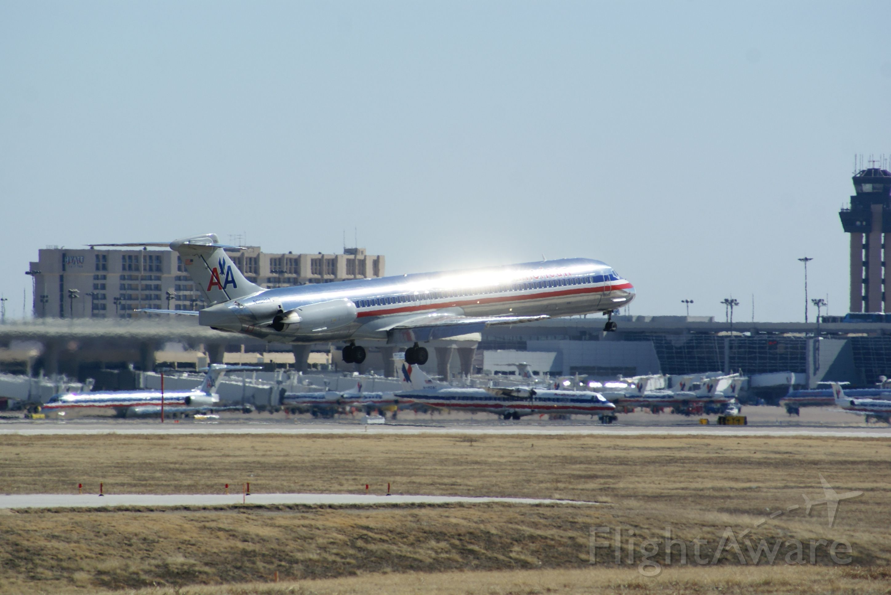 McDonnell Douglas MD-80 — - American Airlines MD80 landing. Caught the shot as soon as the sun reflected off of the plane.