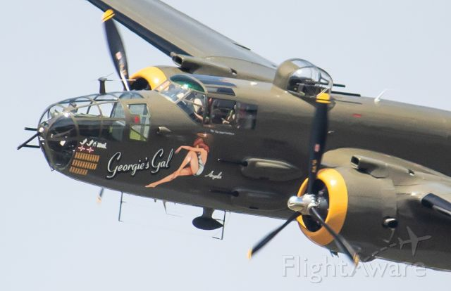 """N345BG — - Liberty Aviation Museum's B-25J """"Georgie's Gal"""" passing right in front of the crowd at the 2019 Thunder Over Michigan Airshow."""