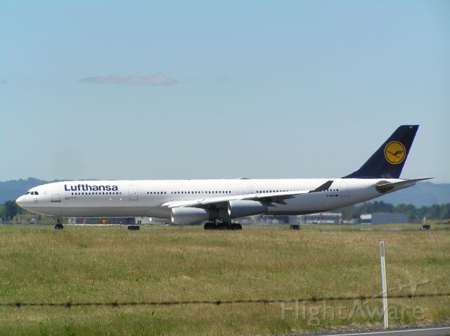 Airbus A340-300 (D-AJGJ) - Hold short; taken from approach end 25L at KPDX; 2008-06-14