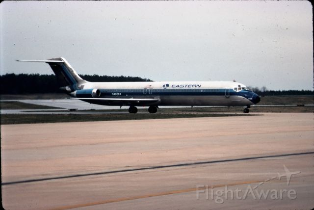 """Douglas DC-9-10 (N405EA) - Eastern DC-9 taxiing to the gate at the Greenville-Spartanburg """"Jetport"""" in Greer, SC.  Circa early 1980's, from 35mm slide."""