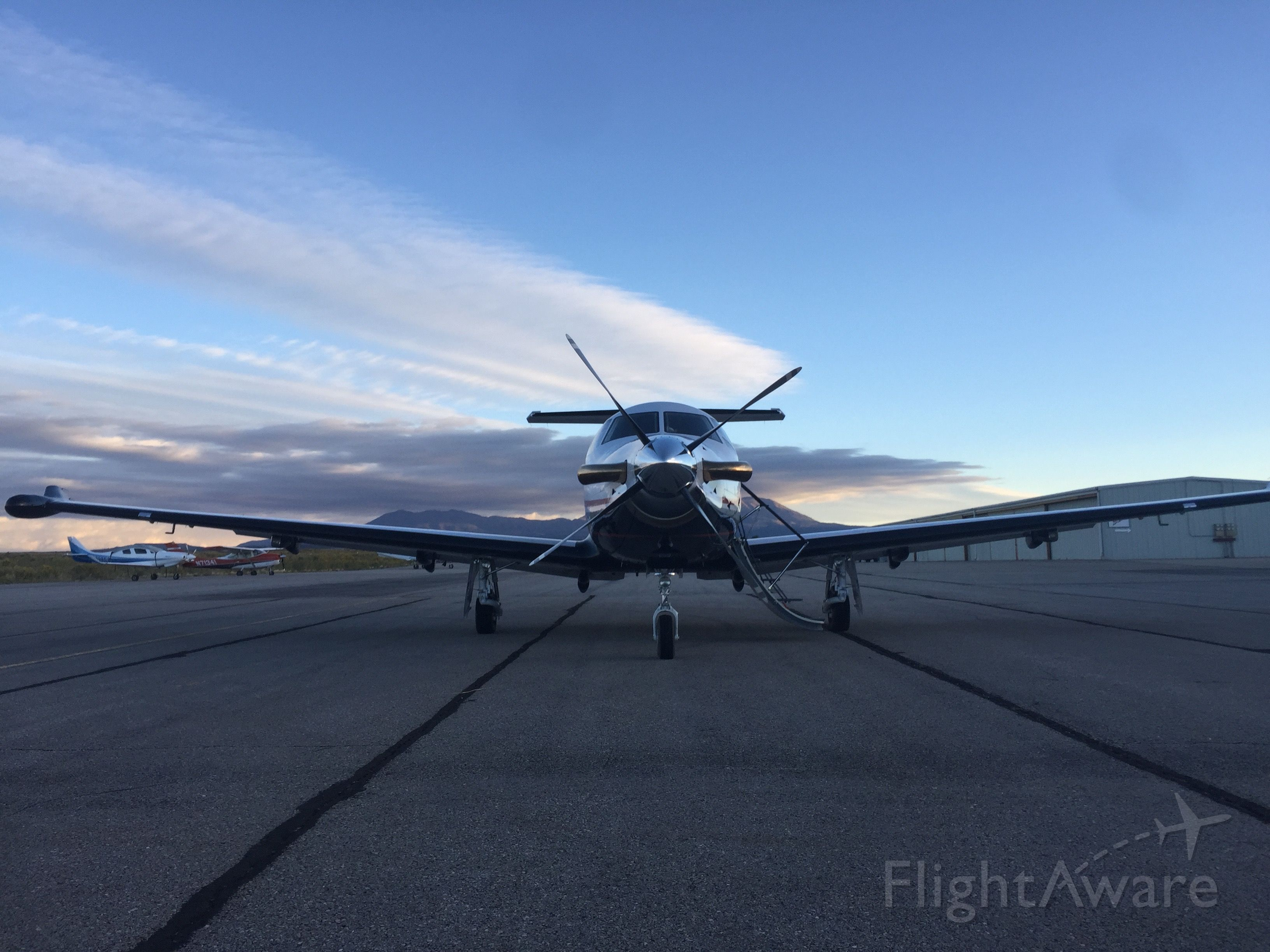 Pilatus PC-12 (N742R) - Early morning in Blanding, UT. About to begin the return leg to SLC after flying down to drop of some doctors with Angel Flight West