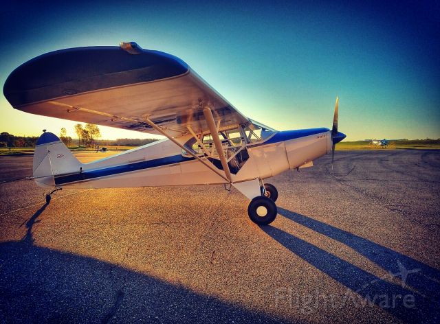 Piper PA-12 Super Cruiser (N61465) - After a flight at dawn on a clear spring day in 2016.