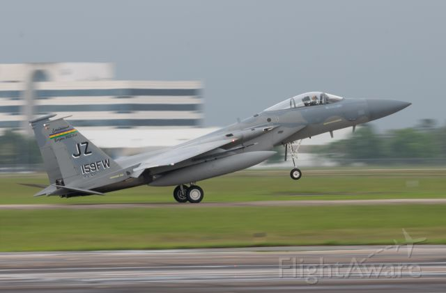 McDonnell Douglas F-15 Eagle (N85102) - F-15C Eagle 85-102 from the Louisiana Air National Guard's 159th Fighter Wing, arrives for fuel and an overnight at EFD on May 21, 2021