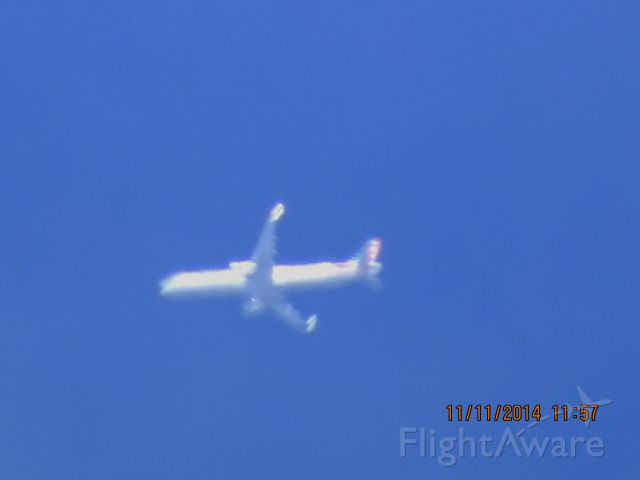 Airbus A321 (N102NN) - American Airlines flight 255 from JFK to LAX over Southeastern Kansas at 36,000 feet.