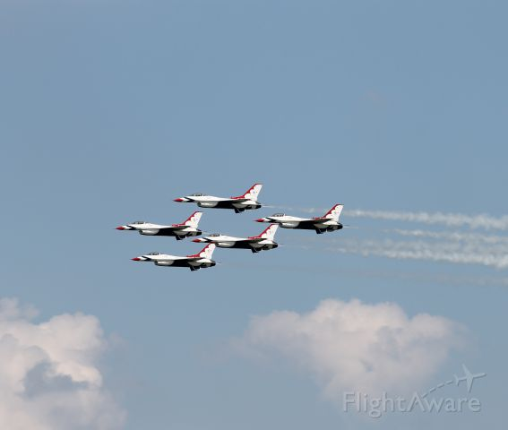 Lockheed F-16 Fighting Falcon — - The Thunderbirds doing a flyby of the airport after a flight demo at Thunder Over The Boardwalk 2014.