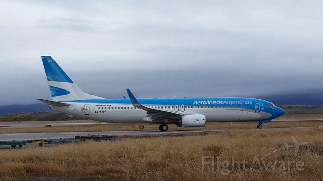 — — - Saliendo Aeropuerto internacional Malvinas Argentinas de Ushuaia #AerolineasArgentina