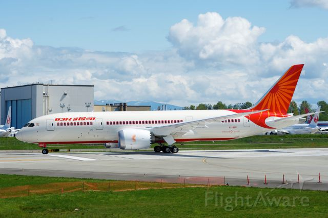 Boeing Dreamliner (Srs.8) (VT-ANN) - VT-ANN Air India Boeing 787-8 taxing back to the stall after completing a test flight. It was ferried to Charleston the next day morning